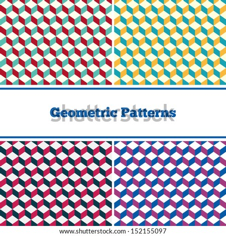 Set of abstract seamless geometric patterns - stock vector