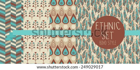 set of abstract seamless patterns, feathers and ethnic decorative elements, boho palette, indian american style, vector illustration - stock vector