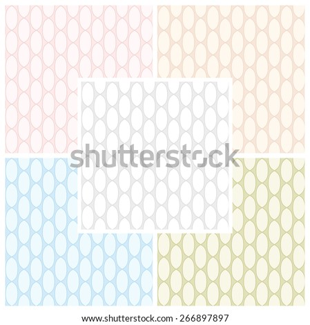Set of abstract seamless patterns of links of chain in pastel colors. Vector eps 10. - stock vector