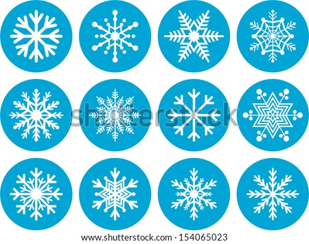 Set of abstract snowflakes - stock vector