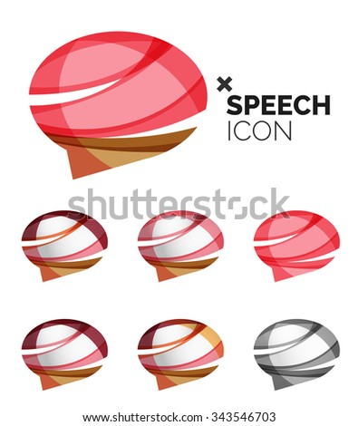 Set of abstract speech bubble and cloud icons, business logotype concepts, clean modern geometric design. Created with transparent abstract wave lines - stock vector