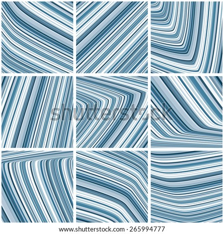 Set of abstract striped tile pattern with blue and grey thin stripes. Graphic vector design - stock vector