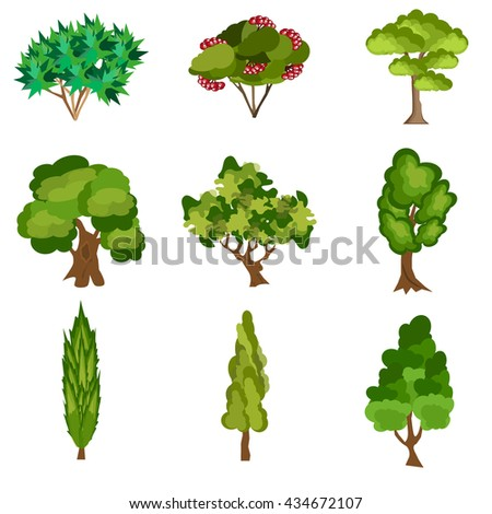 Set of abstract stylized trees. Natural trees vector illustration. Cartoon trees green nature and summer forest green trees collection. Trees leaf green plants and ecology forest oak trees eco branch. - stock vector