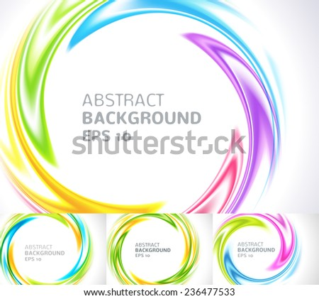 Set of abstract swirl circle bright background. Vector illustration for you modern design. Round frame or banner with place for text. Blue, yellow, purple, red and green colors. - stock vector