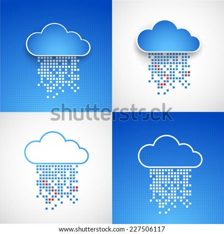 Set of abstract technology cloud theme backgrounds. Vector illustration - stock vector