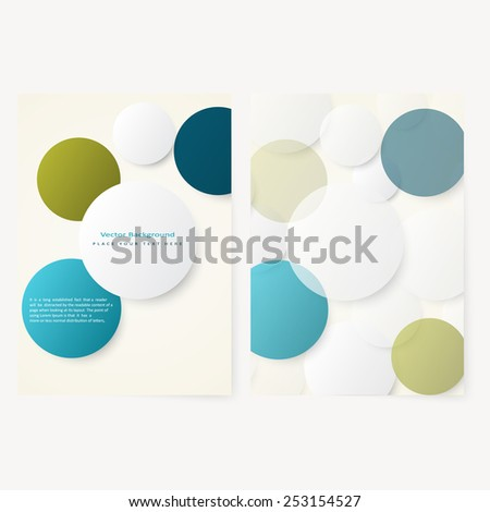 Set of abstract template flyer with simple volume color circles . Design element - stock vector