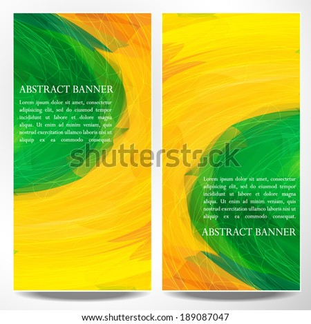Set of abstract vector art banners in the colors of the Brazilian flag. - stock vector