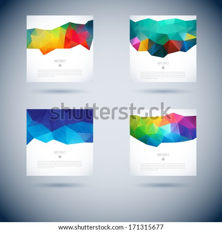 Set of abstract vector background with triangle object. Template for design  - stock vector