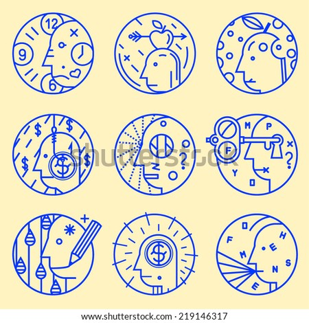 Set of abstract vector icons. Science, technology, thought, scientist, alchemy, philosophy, computer science. - stock vector