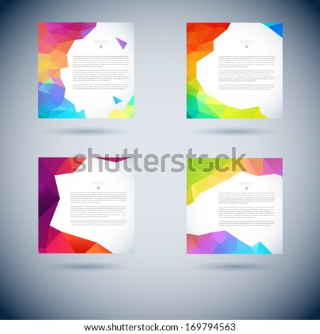 Set of abstract vector moder background with triangle object. Template for design - stock vector