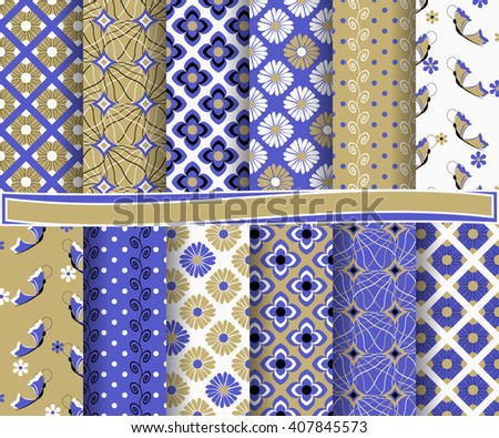 set of abstract vector paper with floral patterns and decorative elements for scrapbook - stock vector
