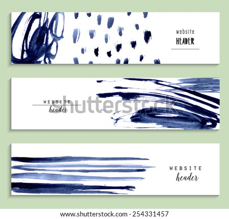 Set of abstract vector watercolor headers for website. Abstract backgrounds and banners. - stock vector