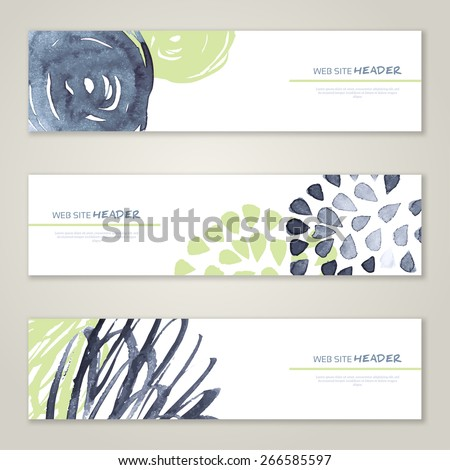 Set of abstract vector watercolor headers for website. Paint splash. Vector illustration. Abstract backgrounds and banners. Gray and pistachio colors - stock vector