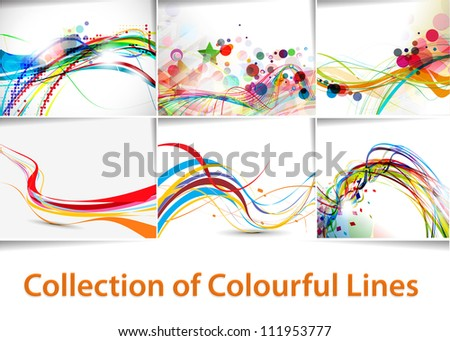 set of abstract wave line poster with space of your text. - stock vector