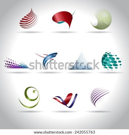 Set of abstract web icons, vector illustration - stock vector