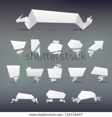 set  of Abstract white origami banners design element - stock vector