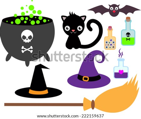 Set of accessories for the little witch - cauldron of potion, bubbles with venom , black cat, bat, broom, hat - stock vector