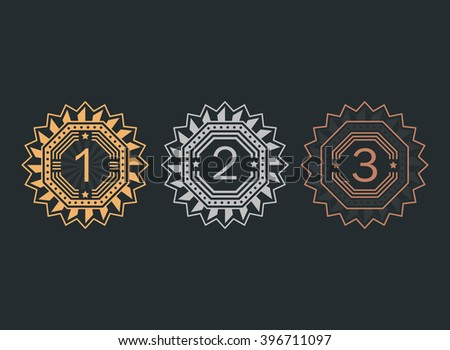 Set of achievement icons. Gold, silver and bronze medals. Collection of elements for winner. Set of award emblems for games, website or an app. Trophy pictogram. Flat vector style. - stock vector