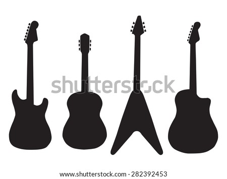 set of acoustic guitars and electric guitars. Vector Illustration - stock vector