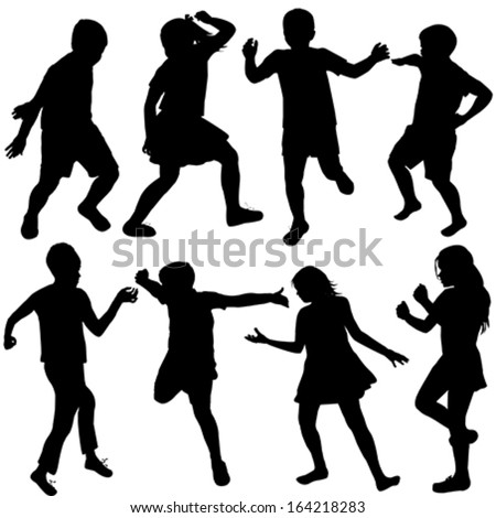 Set of active children silhouettes - stock vector