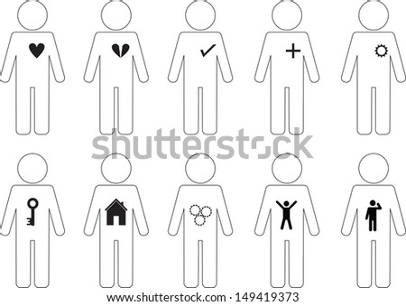 Set of active human pictogram icons illustrated on white background - stock vector
