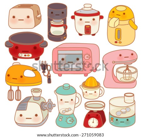 Set of  adorable kitchen appliances , cute kettle , lovely oven , sweet blender   isolated on white in chlildlike doodle style - Vector file EPS10 - stock vector
