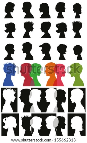Set of adult and children silhouettes - stock vector