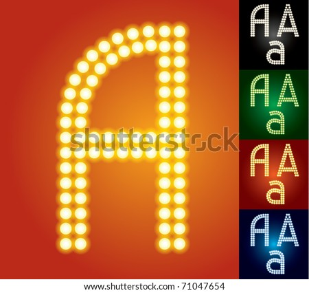 Set of advanced led alphabet with transparency. Character a - stock vector