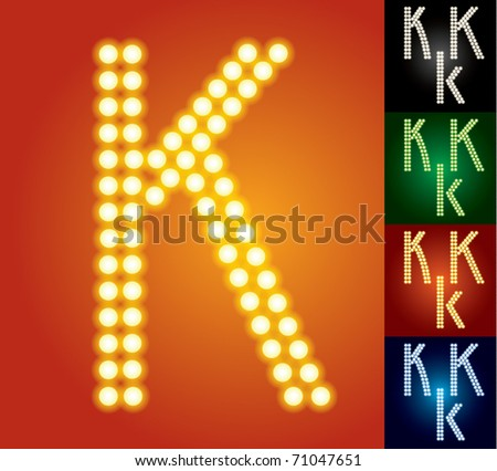 Set of advanced led alphabet with transparency. Character k - stock vector