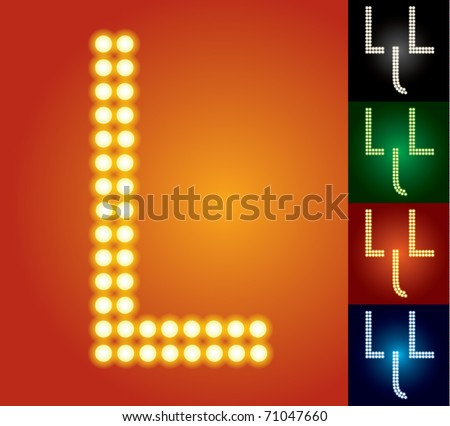 Set of advanced led alphabet with transparency. Character l - stock vector