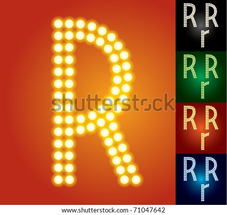 Set of advanced led alphabet with transparency. Character r - stock vector