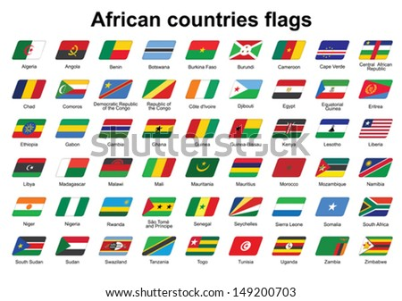 set of African countries flags icons - stock vector