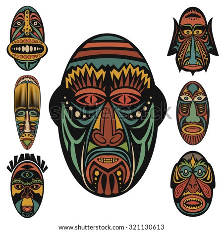 Bantu masks-inspired flags