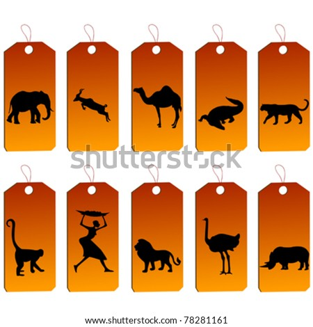 Set of african price tags - stock vector
