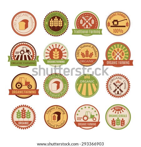 Set of 16 agricultural and farming badges (cereal cultivation - organic farming and natural healthy food). Minimalistic design and warm colors (green, yellow, brown, tan) - stock vector