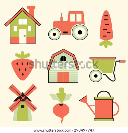 Set of agricultural icons (vector illustration, flat concept) - stock vector