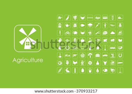 Set of agriculture simple icons - stock vector