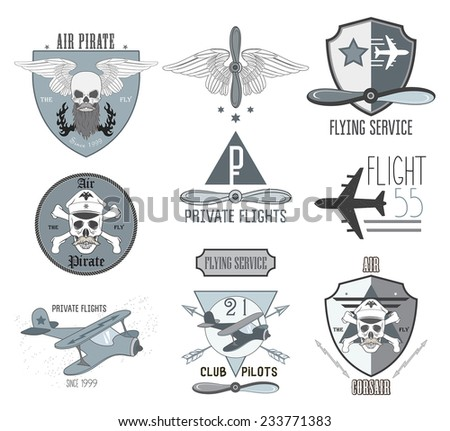 Set of air labels, badges and design elements  - stock vector