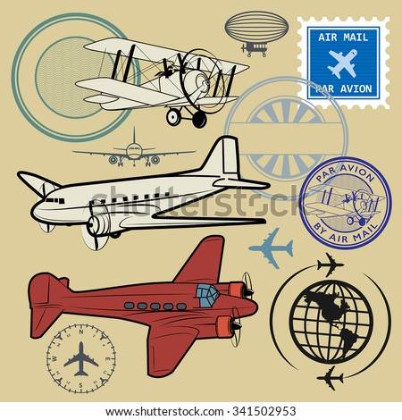 Set of air mail and airplane symbols, vector illustration - stock vector
