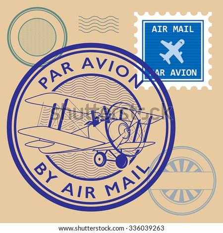 Set of air mail symbols, vector illustration - stock vector