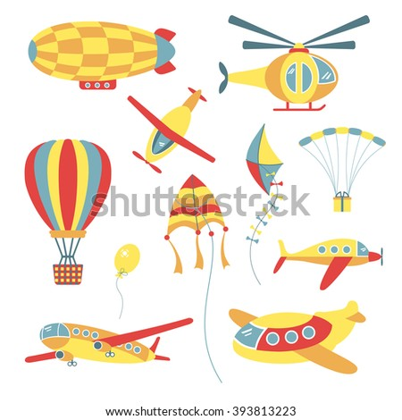 Set of air transport for children: kite, balloon, dirigible, airplane, helicopter, parachute. - stock vector