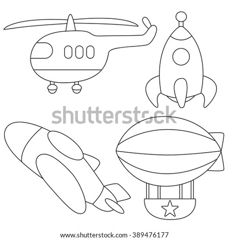 Set of air vehicles plane,rocket,helicopter Coloring page  - stock vector