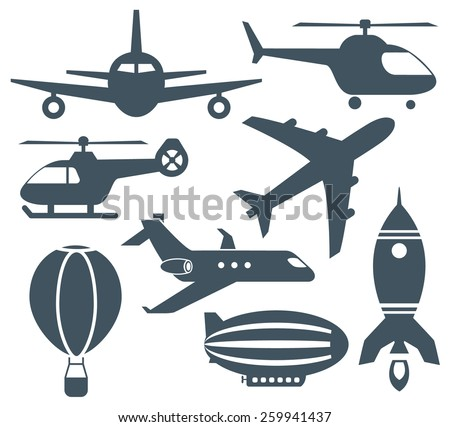 Set of aircrafts  icons - stock vector
