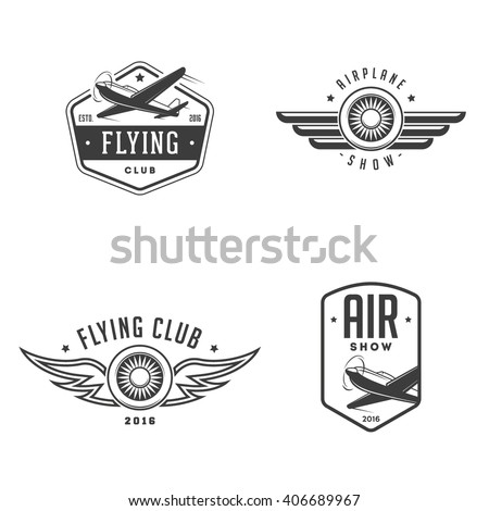 Set of airplane show labels. Flying club. Air show. - stock vector
