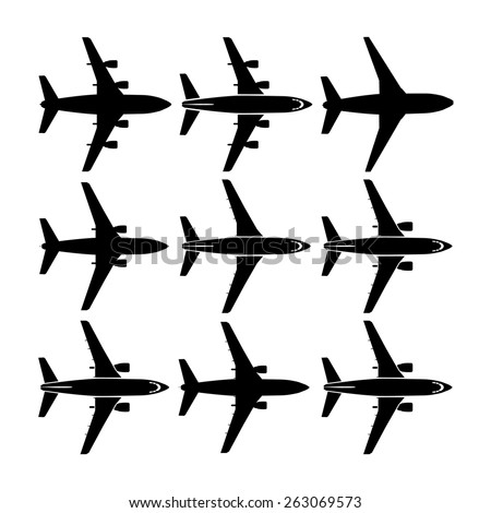 Set of airplanes icon - stock vector - stock vector