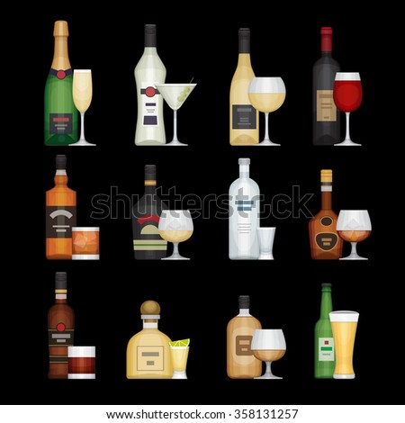 Set of alcohol bottle with glasses. Alcohol drinks and beverages. Flat design style, vector illustration. - stock vector