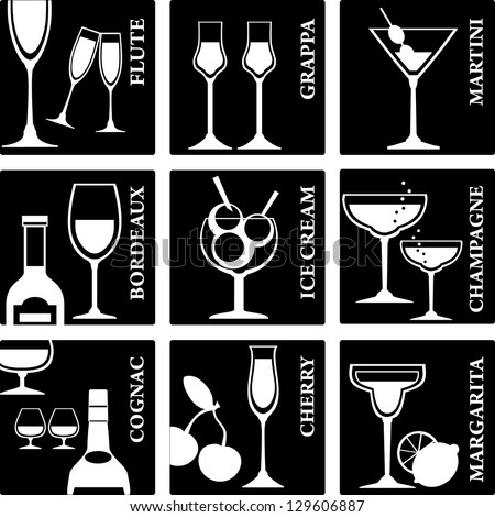 Set of Alcohol Drinks icons. Tumblers set for alcohol drinks, cocktails and ice cream. - stock vector