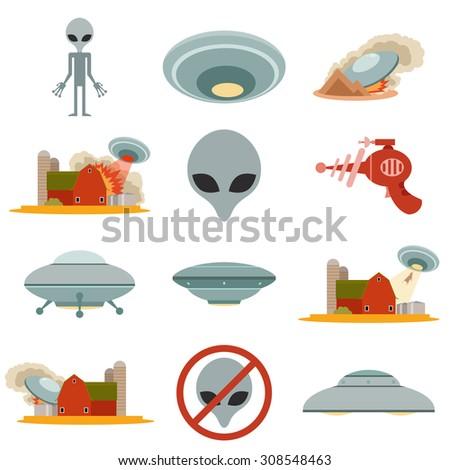 Set of alien invasion - stock vector