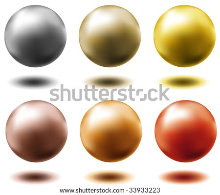 set of all metal balls of gold silver brass copper platinum - stock vector