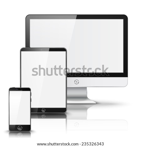 Set of all size screen devices for site preview - computer, tablet, phone sizes, isolated on white background with reflection. Vector - stock vector
